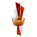 Weihwasserkessel Glas transparent orange rot modern 17 cm Wandschmuck Handarbeit